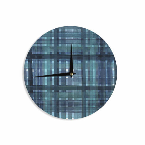 "Ebi Emporium ""PLAID FOR YOU, TEAL BLUE"" Blue Teal Stripes Pattern Mixed Media Painting Wall Clock"