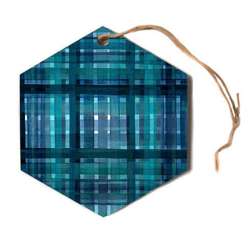 "Ebi Emporium ""PLAID FOR YOU, TEAL BLUE"" Blue Teal Stripes Pattern Mixed Media Painting Hexagon Holiday Ornament"