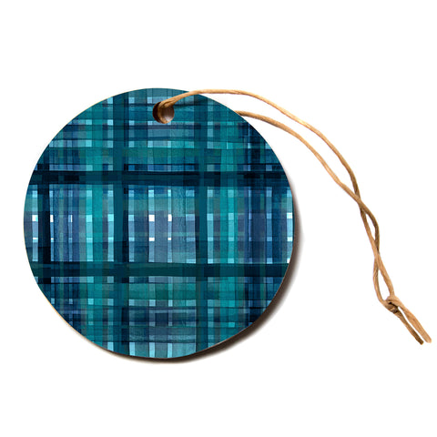 "Ebi Emporium ""PLAID FOR YOU, TEAL BLUE"" Blue Teal Stripes Pattern Mixed Media Painting Circle Holiday Ornament"