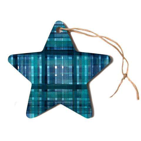 "Ebi Emporium ""PLAID FOR YOU, TEAL BLUE"" Blue Teal Stripes Pattern Mixed Media Painting Star Holiday Ornament"