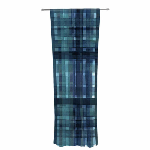"Ebi Emporium ""PLAID FOR YOU, TEAL BLUE"" Blue Teal Stripes Pattern Mixed Media Painting Decorative Sheer Curtain"