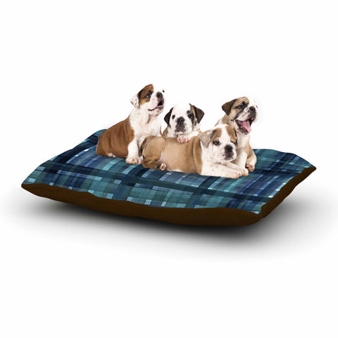 "Ebi Emporium ""PLAID FOR YOU, TEAL BLUE"" Blue Teal Stripes Pattern Mixed Media Painting Dog Bed"