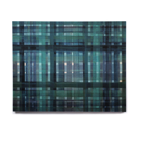 "Ebi Emporium ""PLAID FOR YOU, TEAL BLUE"" Blue Teal Stripes Pattern Mixed Media Painting Birchwood Wall Art"