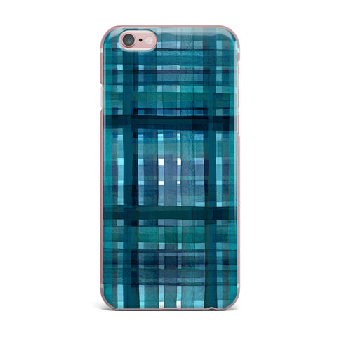 "Ebi Emporium ""PLAID FOR YOU, TEAL BLUE"" Blue Teal Stripes Pattern Mixed Media Painting iPhone Case"