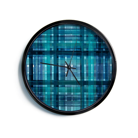 "Ebi Emporium ""PLAID FOR YOU, TEAL BLUE"" Blue Teal Stripes Pattern Mixed Media Painting Modern Wall Clock"