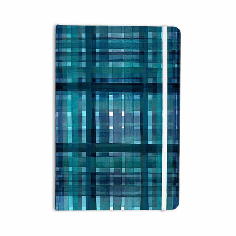 "Ebi Emporium ""PLAID FOR YOU, TEAL BLUE"" Blue Teal Stripes Pattern Mixed Media Painting Everything Notebook"
