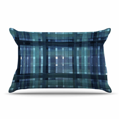 "Ebi Emporium ""PLAID FOR YOU, TEAL BLUE"" Blue Teal Stripes Pattern Mixed Media Painting Pillow Sham"