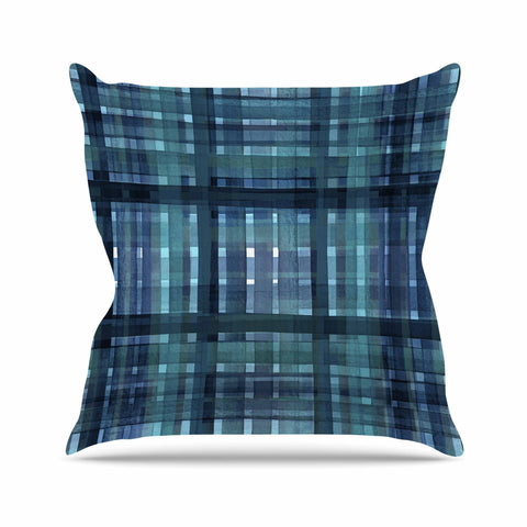 "Ebi Emporium ""PLAID FOR YOU, TEAL BLUE"" Blue Teal Stripes Pattern Mixed Media Painting Outdoor Throw Pillow"