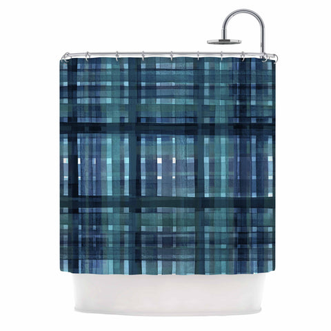 "Ebi Emporium ""PLAID FOR YOU, TEAL BLUE"" Blue Teal Stripes Pattern Mixed Media Painting Shower Curtain"