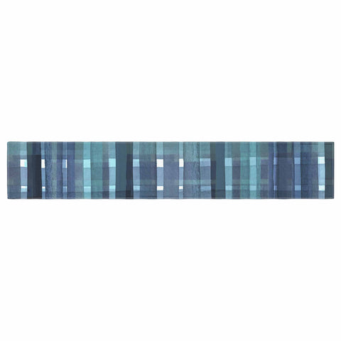 "Ebi Emporium ""PLAID FOR YOU, TEAL BLUE"" Blue Teal Stripes Pattern Mixed Media Painting Table Runner"