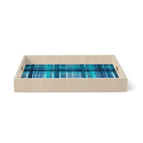 "Ebi Emporium ""PLAID FOR YOU, TEAL BLUE"" Blue Teal Stripes Pattern Mixed Media Painting Birchwood Tray"
