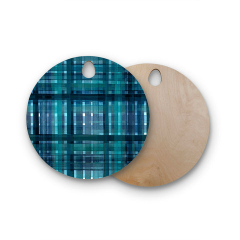 "Ebi Emporium ""PLAID FOR YOU, TEAL BLUE"" Blue Teal Stripes Pattern Mixed Media Painting Round Wooden Cutting Board"