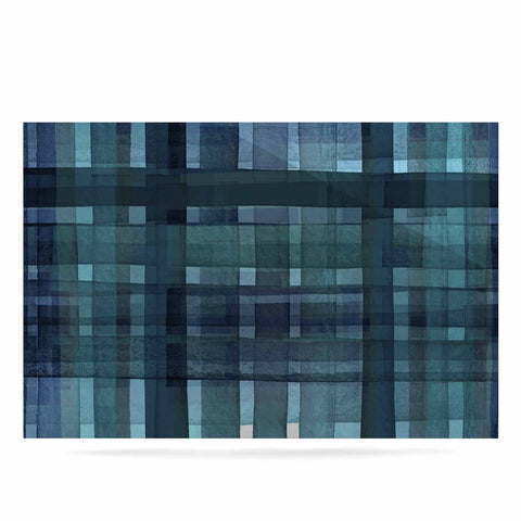 "Ebi Emporium ""PLAID FOR YOU, TEAL BLUE"" Blue Teal Stripes Pattern Mixed Media Painting Luxe Rectangle Panel"