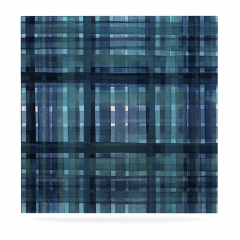 "Ebi Emporium ""PLAID FOR YOU, TEAL BLUE"" Blue Teal Stripes Pattern Mixed Media Painting Luxe Square Panel"