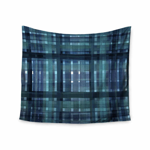 "Ebi Emporium ""PLAID FOR YOU, TEAL BLUE"" Blue Teal Stripes Pattern Mixed Media Painting Wall Tapestry"