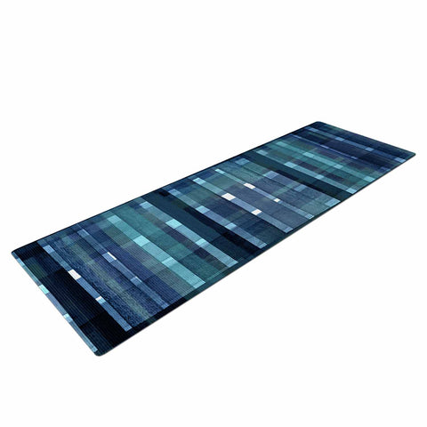 "Ebi Emporium ""PLAID FOR YOU, TEAL BLUE"" Blue Teal Stripes Pattern Mixed Media Painting Yoga Mat"