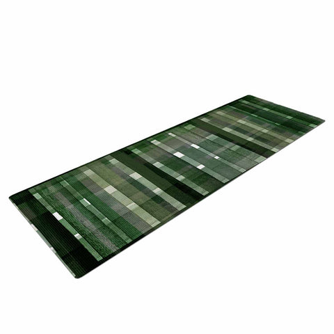 "Ebi Emporium ""PLAID FOR YOU, DARK GREEN"" Olive Green Stripes Pattern Mixed Media Painting Yoga Mat"