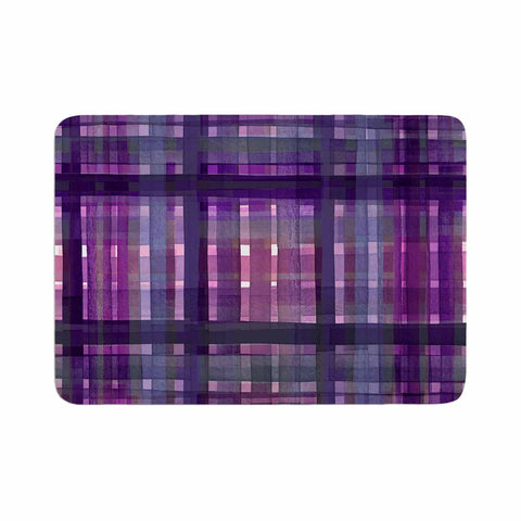 "Ebi Emporium ""PLAID FOR YOU, PURPLE MULTI"" Purple Lavender Stripes Pattern Mixed Media Painting Memory Foam Bath Mat"
