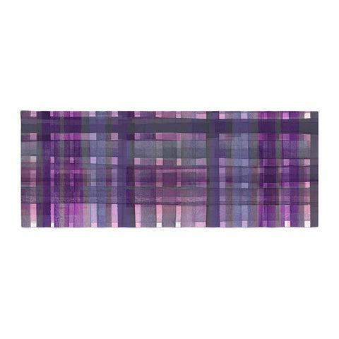 "Ebi Emporium ""PLAID FOR YOU, PURPLE MULTI"" Purple Lavender Stripes Pattern Mixed Media Painting Bed Runner"
