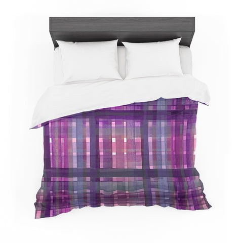 "Ebi Emporium ""PLAID FOR YOU, PURPLE MULTI"" Purple Lavender Stripes Pattern Mixed Media Painting Featherweight Duvet Cover"
