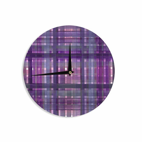 "Ebi Emporium ""PLAID FOR YOU, PURPLE MULTI"" Purple Lavender Stripes Pattern Mixed Media Painting Wall Clock"