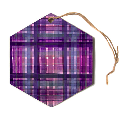 "Ebi Emporium ""PLAID FOR YOU, PURPLE MULTI"" Purple Lavender Stripes Pattern Mixed Media Painting Hexagon Holiday Ornament"