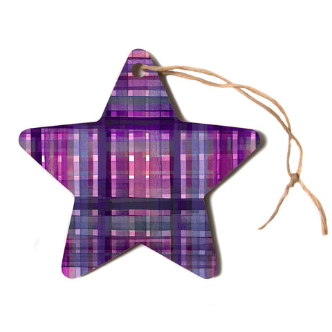 "Ebi Emporium ""PLAID FOR YOU, PURPLE MULTI"" Purple Lavender Stripes Pattern Mixed Media Painting Star Holiday Ornament"