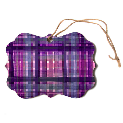 "Ebi Emporium ""PLAID FOR YOU, PURPLE MULTI"" Purple Lavender Stripes Pattern Mixed Media Painting Scroll Holiday Ornament"
