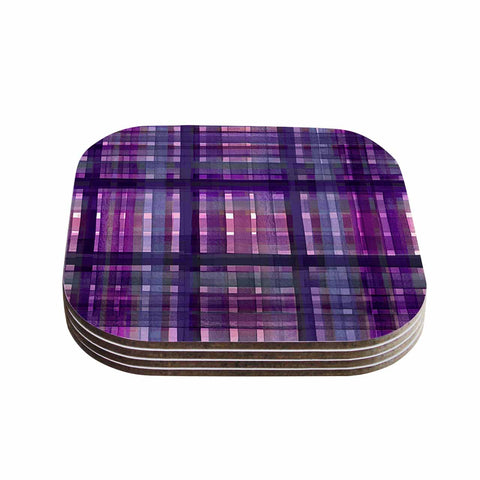 "Ebi Emporium ""PLAID FOR YOU, PURPLE MULTI"" Purple Lavender Stripes Pattern Mixed Media Painting Coasters (Set of 4)"
