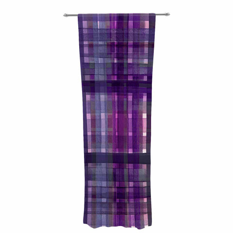 "Ebi Emporium ""PLAID FOR YOU, PURPLE MULTI"" Purple Lavender Stripes Pattern Mixed Media Painting Decorative Sheer Curtain"