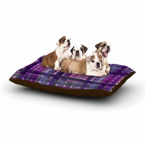 "Ebi Emporium ""PLAID FOR YOU, PURPLE MULTI"" Purple Lavender Stripes Pattern Mixed Media Painting Dog Bed"