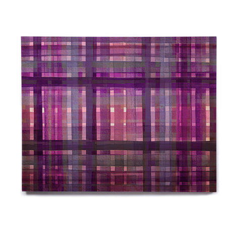 "Ebi Emporium ""PLAID FOR YOU, PURPLE MULTI"" Purple Lavender Stripes Pattern Mixed Media Painting Birchwood Wall Art"