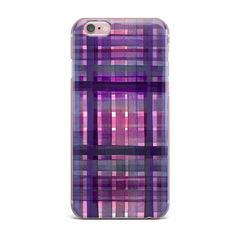 "Ebi Emporium ""PLAID FOR YOU, PURPLE MULTI"" Purple Lavender Stripes Pattern Mixed Media Painting iPhone Case"