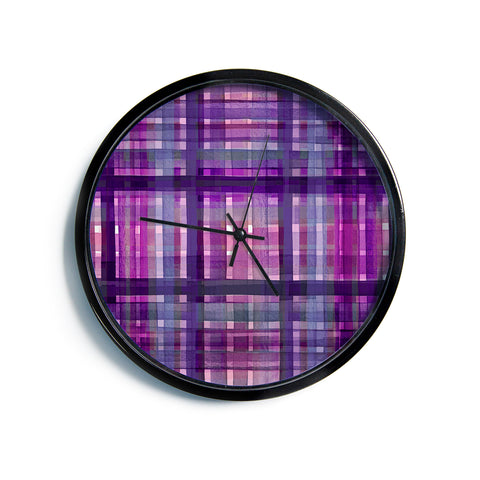 "Ebi Emporium ""PLAID FOR YOU, PURPLE MULTI"" Purple Lavender Stripes Pattern Mixed Media Painting Modern Wall Clock"