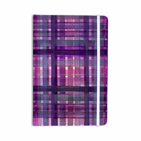 "Ebi Emporium ""PLAID FOR YOU, PURPLE MULTI"" Purple Lavender Stripes Pattern Mixed Media Painting Everything Notebook"
