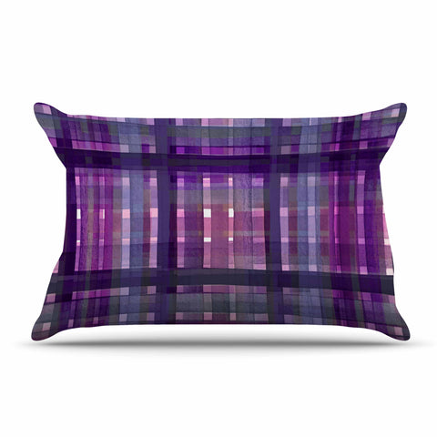"Ebi Emporium ""PLAID FOR YOU, PURPLE MULTI"" Purple Lavender Stripes Pattern Mixed Media Painting Pillow Sham"
