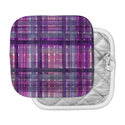 "Ebi Emporium ""PLAID FOR YOU, PURPLE MULTI"" Purple Lavender Stripes Pattern Mixed Media Painting Pot Holder"