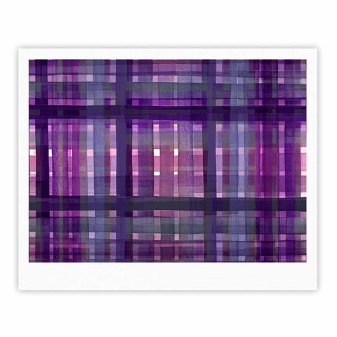 "Ebi Emporium ""PLAID FOR YOU, PURPLE MULTI"" Purple Lavender Stripes Pattern Mixed Media Painting Fine Art Gallery Print"