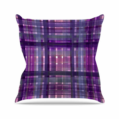 "Ebi Emporium ""PLAID FOR YOU, PURPLE MULTI"" Purple Lavender Stripes Pattern Mixed Media Painting Outdoor Throw Pillow"