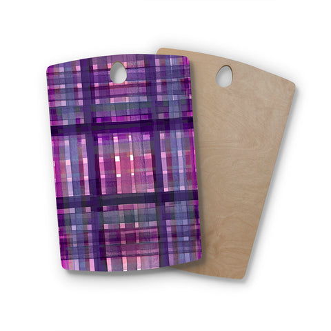 "Ebi Emporium ""PLAID FOR YOU, PURPLE MULTI"" Purple Lavender Stripes Pattern Mixed Media Painting Rectangle Wooden Cutting Board"