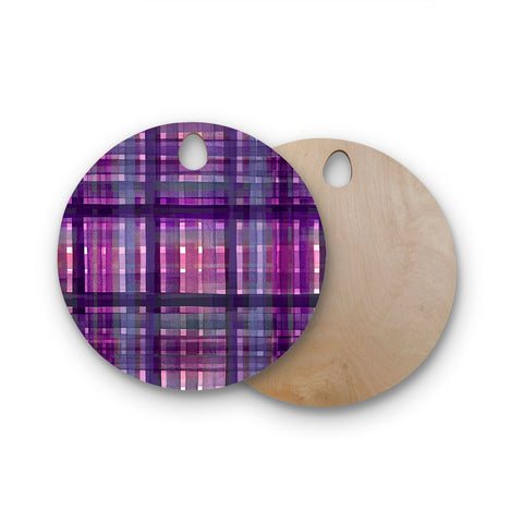 "Ebi Emporium ""PLAID FOR YOU, PURPLE MULTI"" Purple Lavender Stripes Pattern Mixed Media Painting Round Wooden Cutting Board"