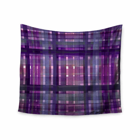"Ebi Emporium ""PLAID FOR YOU, PURPLE MULTI"" Purple Lavender Stripes Pattern Mixed Media Painting Wall Tapestry"
