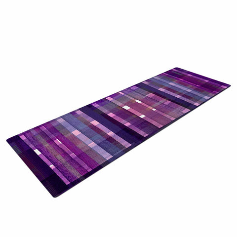 "Ebi Emporium ""PLAID FOR YOU, PURPLE MULTI"" Purple Lavender Stripes Pattern Mixed Media Painting Yoga Mat"