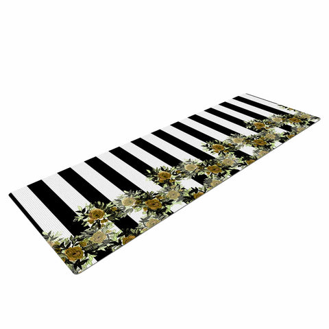"Ebi Emporium ""STRIPES AND ROSES, OCHRE GREEN"" Green,Black,Floral,Stripes,Mixed Media,Watercolor Yoga Mat"
