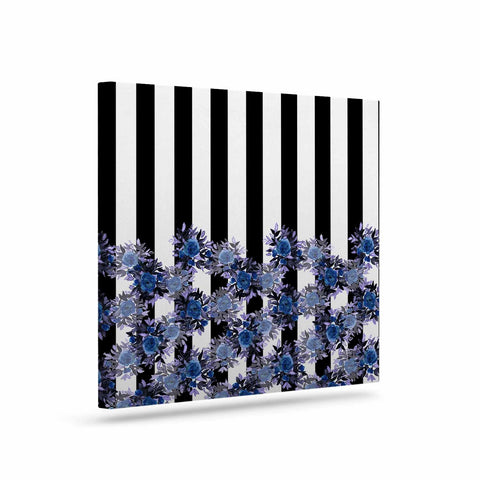 "Ebi Emporium ""STRIPES AND ROSES, INDIGO BLUE"" Blue,Black,Floral,Stripes,Mixed Media,Watercolor Art Canvas"