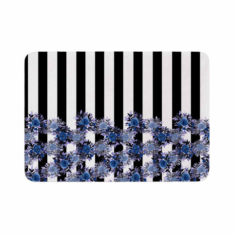 "Ebi Emporium ""STRIPES AND ROSES, INDIGO BLUE"" Blue,Black,Floral,Stripes,Mixed Media,Watercolor Memory Foam Bath Mat"