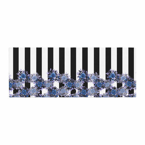 "Ebi Emporium ""STRIPES AND ROSES, INDIGO BLUE"" Blue,Black,Floral,Stripes,Mixed Media,Watercolor Bed Runner"