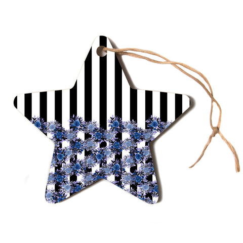 "Ebi Emporium ""STRIPES AND ROSES, INDIGO BLUE"" Blue,Black,Floral,Stripes,Mixed Media,Watercolor Star Holiday Ornament"