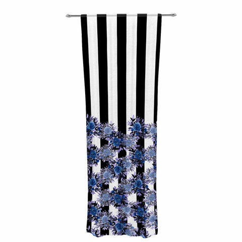 "Ebi Emporium ""STRIPES AND ROSES, INDIGO BLUE"" Blue,Black,Floral,Stripes,Mixed Media,Watercolor Decorative Sheer Curtain"
