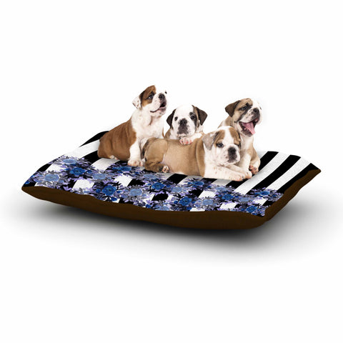 "Ebi Emporium ""STRIPES AND ROSES, INDIGO BLUE"" Blue,Black,Floral,Stripes,Mixed Media,Watercolor Dog Bed"